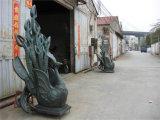 Bronzephoenix, im Freiengarten-Dekoration, Innenplatz-Block, Wasser kennzeichnet Skulpturen