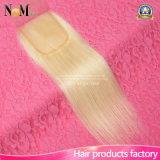 Chiusura bionda del merletto dei capelli umani di Remy di colore del miele 613 della chiusura del merletto del platino