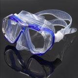 卸し売り緩和されたガラスレンズの青いFreedivingマスク