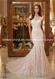 Крышка Шампань королевская Sleeves платье венчания Mermaid (Dream-100077)