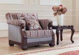 Tabella classica del tessuto del sofà dell'oggetto d'antiquariato di amore della presidenza americana della sede impostata con il blocco per grafici di legno per il salone