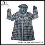Ys-1073 Womens Girls Green Printed Waterproof Respirável Hooded Softshell Jackets