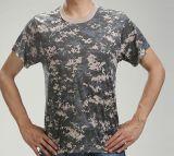 Breve maglietta 100% di Camo del manicotto del cotone esterna