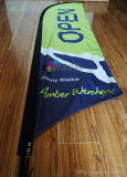 Drapeau chaud de plage d'indicateur de clavette de vol de tissu de polyester de la publicité extérieure de vente