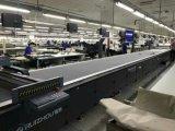 Le double dirige la machine de découpage de tissu de coupeur de couteau avec la bande de conveyeur