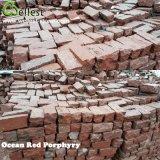 Pietra per lastricati esterna del granito dell'oceano del cubo della pietra della strada privata della pietra per lastricati del patio della pietra rossa del pavimento