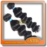 バージンのRemyのブラジルの漆黒カラー毛