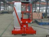 Elevación elevada mástil de la plataforma de trabajo de la aleación de aluminio para la venta