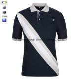 Bianco e Blue Color Combination Collar Design con Polo Shirt