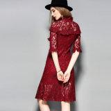 بوليستر أحمر مجوّفة خاصّ بالأزهار يطبع نساء ثوب مع كم نصفيّة