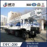 plataforma de perforación montada carro Dfc-200, plataforma de perforación rotatoria hidráulica de los 200m con el dígito binario tricónico de la bomba de fango