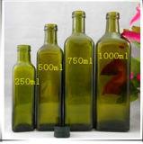 botellas de cristal cuadradas del aceite de oliva de 250ml 500ml 1000ml con el casquillo