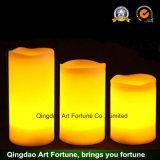 Grande zuppa di pesce beige LED illuminata candela profumata della colonna della vaniglia senza fiamma a pile della cera