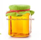 زجاجيّة تخزين زجاجة /Hexagonal تشويش مرطبان مسدّس زجاجيّة عسل مرطبان مع ألومنيوم غطاء