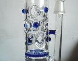 Tubo de fumar de vidrio con cohete azul Holey Drum Honeycomb