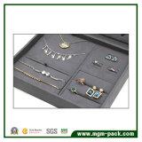 Caja de presentación de encargo de gama alta de la joyería del ante