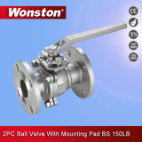 Mounting Pad BS 150lbs를 가진 2PC Ball Valve Flange End