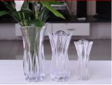 Vase de cristal con Lotus Edge /Flower Vase/Glass Decor/Glass Craft/Glassware