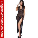 Vestido elevado preto do vestido da cabeçada da régua do Zipper das mulheres Ravishing