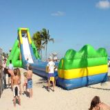 Water inflable Slides, Giant Beach Slide con Wooden Stairs, hipopótamo Slide