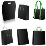 Schwarze Einkaufen-Beutel Fertigkeit-Papierbeutel-/Brown-Kraftpapier (CB-003)