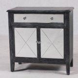 Gabinete de madeira espelhado 3-Doors da mobília da sala de visitas no revestimento preto