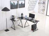 ホーム家具のオフィスの調査のためのL字型ガラスコンピュータの机