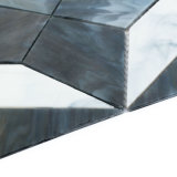 Aufbau-dekorative materielle Wand deckt weißes und graues Glasmosaik mit Ziegeln