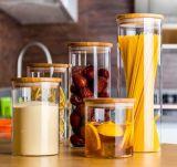 木のふたまたはコルクが付いているホウケイ酸塩ガラスの食糧記憶の瓶
