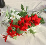 Flor del Poinsettia de 3 colores para la Navidad y la decoración casera (SF15964)