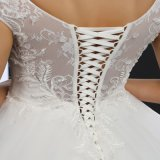 O-Neck Cap Sleeve Lace up Wedding Dress (MZ-0031)