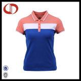 Trois couleurs libèrent le T-shirt fait sur commande de polo de dames d'impression
