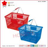 Panier en plastique d'achats de supermarché de poignée deux en métal (OW-BM001)
