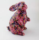 Côté de pièce de monnaie fait sur commande en céramique de pleine étiquette en céramique de modèle de lapin