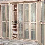 Garde-robe en bois de chambre à coucher de mélamine en gros moderne avec les portes en verre (YG11328)