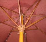 Guarda-chuva de praia Foldable de madeira do jardim de Pólos com sistema da polia