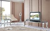 Moderner stilvoller Edelstahl-Glasspitzenviereck Fernsehapparat-Standplatz