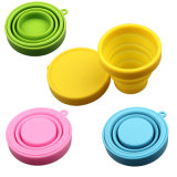 100% Alimento-Grade Atacado Travel Portable Silicone Foldable Cup with Lids