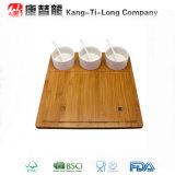 3 Bowls를 가진 정연한 Bamboo Serving Tray