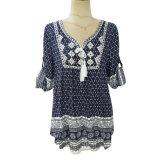 (H930#) - 3/4 chemise d'impression de la chemise des dames avec des glands