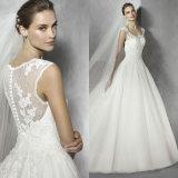 Новый шнурок прибытия отбортовывая V-Шею связывает тучное платье венчания