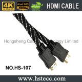 Cable lleno del cable HDMI de HD con la red de nylon