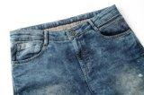 Corte das calças de brim da sarja de Nimes do Knit dos homens novos da lavagem da neve do projeto & calças de brim usadas Sewn