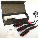 2016 Nueva enderezadora de pelo profesional de Nasv con las herramientas que labran del cepillo Ionic que endereza el peine del hierro de la cerámica con la exhibición del LCD
