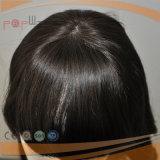 Peruca humana da parte superior da pele da onda do corpo dos estrondos do corte da franja do cabelo de Remy do laço cheio