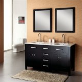 Doppelwannen-Fußboden - eingehangene Badezimmer-Schränke mit Spiegel