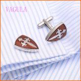 VAGULA stilvoller französischer Hemd-Rosenholz-Edelstahl-rote hölzerne Manschettenknöpfe 128