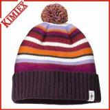 모자에 의하여 친 자카드 직물 베레모가 겨울 아크릴 승진에 의하여 뜨개질을 했다