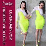 Filé net de couleurs fluorescentes piquant la robe sexy L27960-2