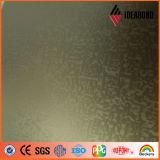 El panel acanalado del aluminio externo revestido de PVDF que graba (oro 011 metálicos)